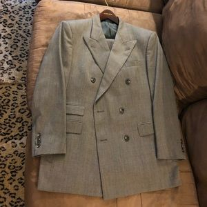 Burberry Grey Check Double Breasted Suit 40R